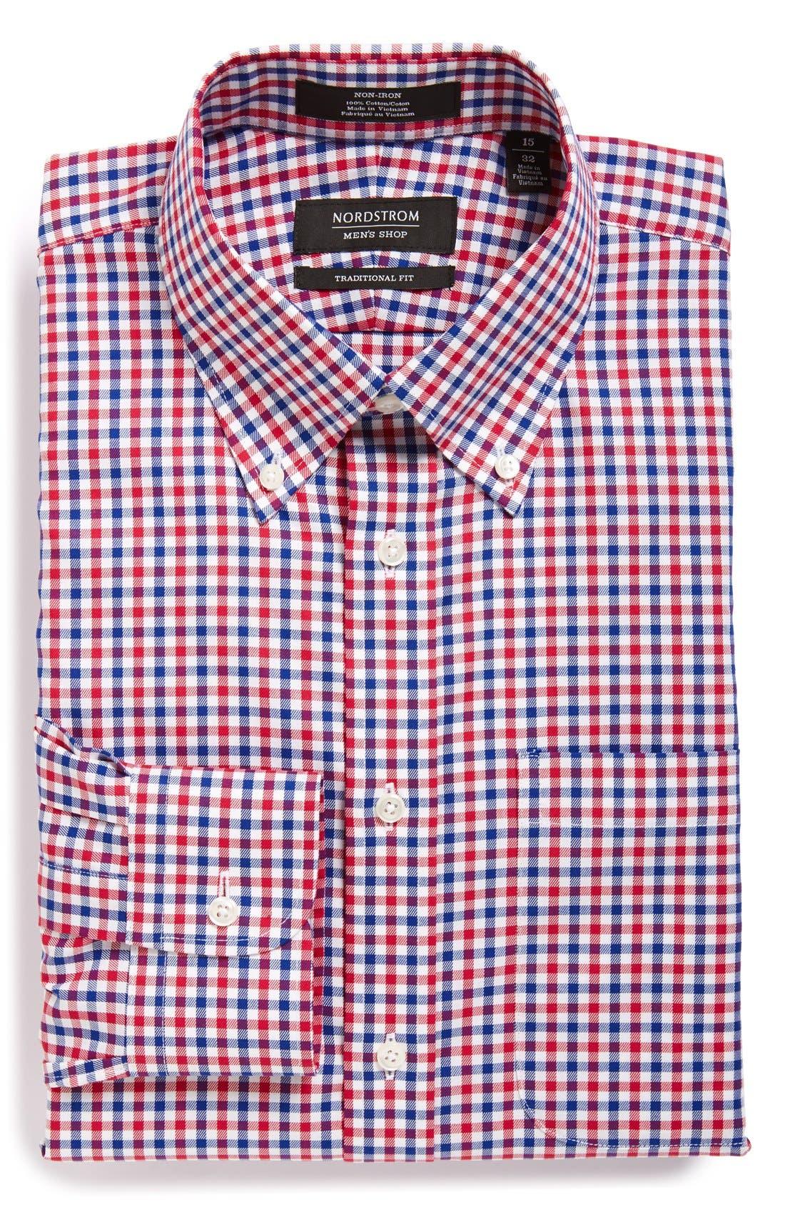 ,                             Traditional Fit Non-Iron Check Dress Shirt,                             Main thumbnail 1, color,                             630