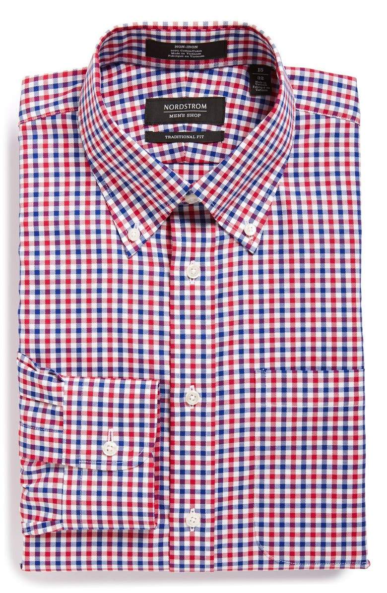 NORDSTROM MEN'S SHOP Traditional Fit Non-Iron Check Dress Shirt, Main, color, 630