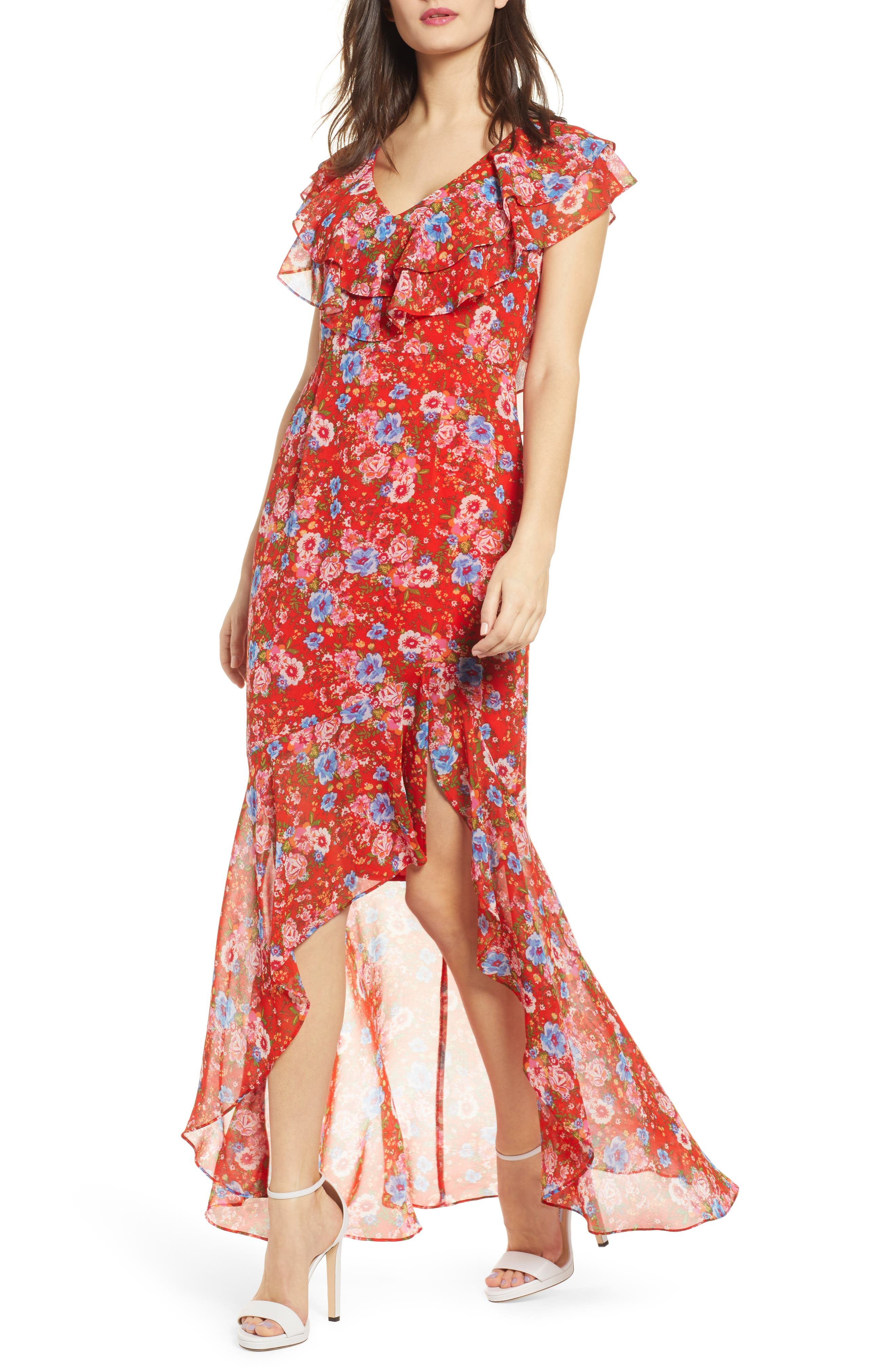 Wayf Levani Floral Print High/low Dress, Red