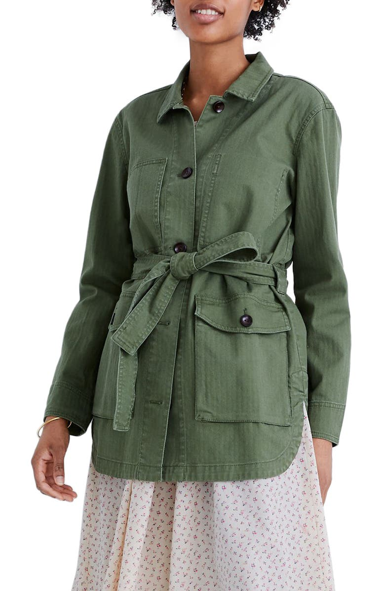 MADEWELL Tie Waist Military Jacket, Main, color, PALM TREE