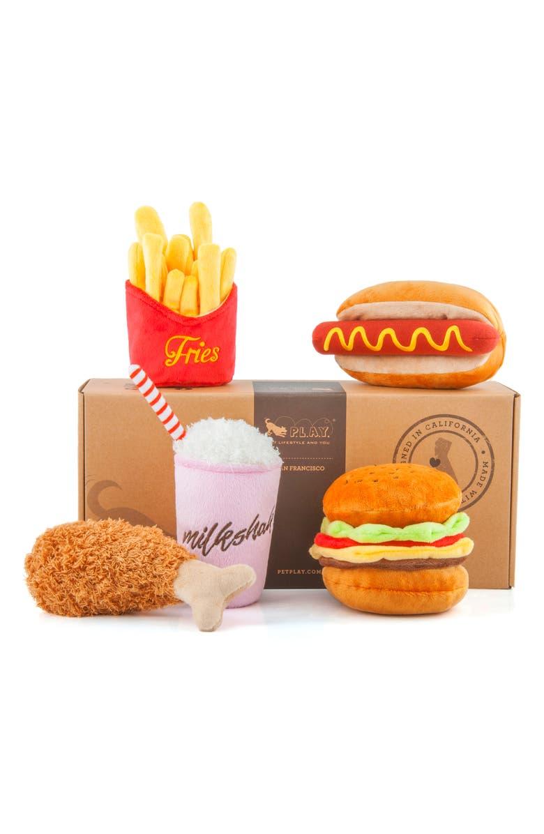 P.L.A.Y . 5-Piece Fast Food Plush Dog Toy Set, Main, color, 801