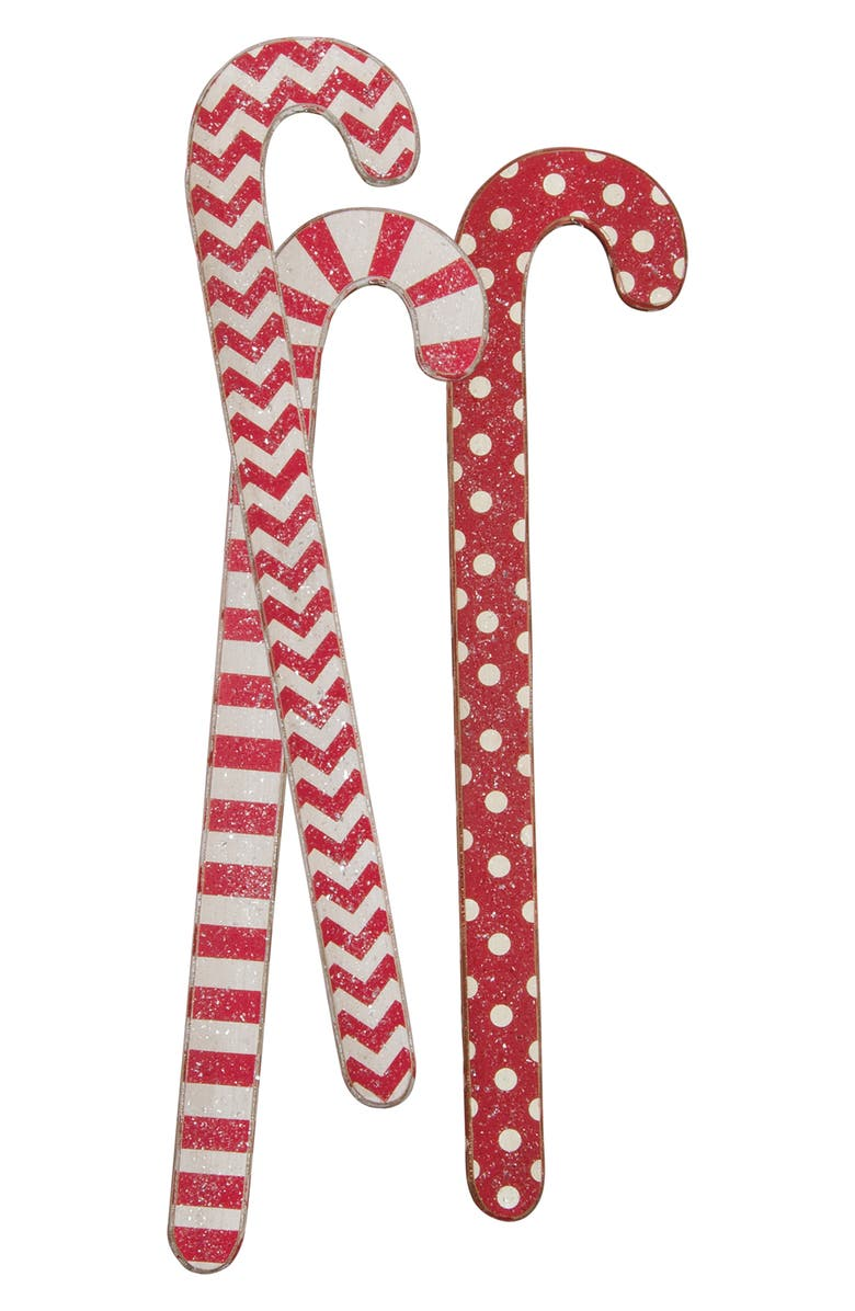 PRIMITIVES BY KATHY Set of 3 Jumbo Wooden Candy Canes, Main, color, RED