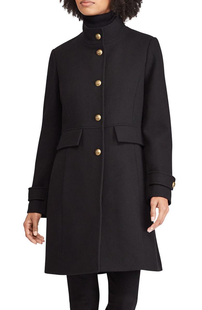 LAUREN RALPH LAUREN Wool Blend Military Coat, Main, color, 001