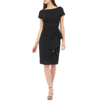 Carmen Marc Valvo Infusion Sequin Ruffle Short Sleeve Crepe Cocktail Dress, Black