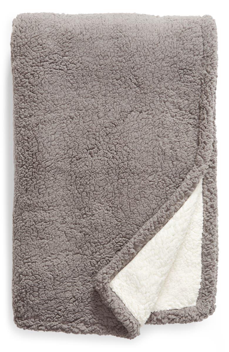 BP. Reversible High Pile Fleece Throw Blanket, Main, color, GREY DECEMBER