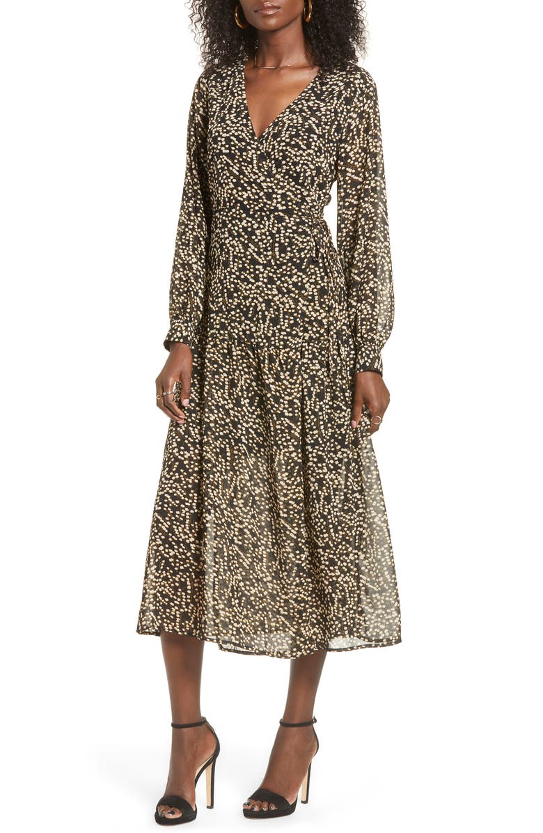 ALL IN FAVOR Print Long Sleeve Faux Wrap Midi Dress, Main, color, BLACK WHITE