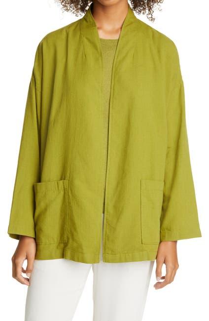Image of Eileen Fisher High Collar Organic Cotton Blend Jacket