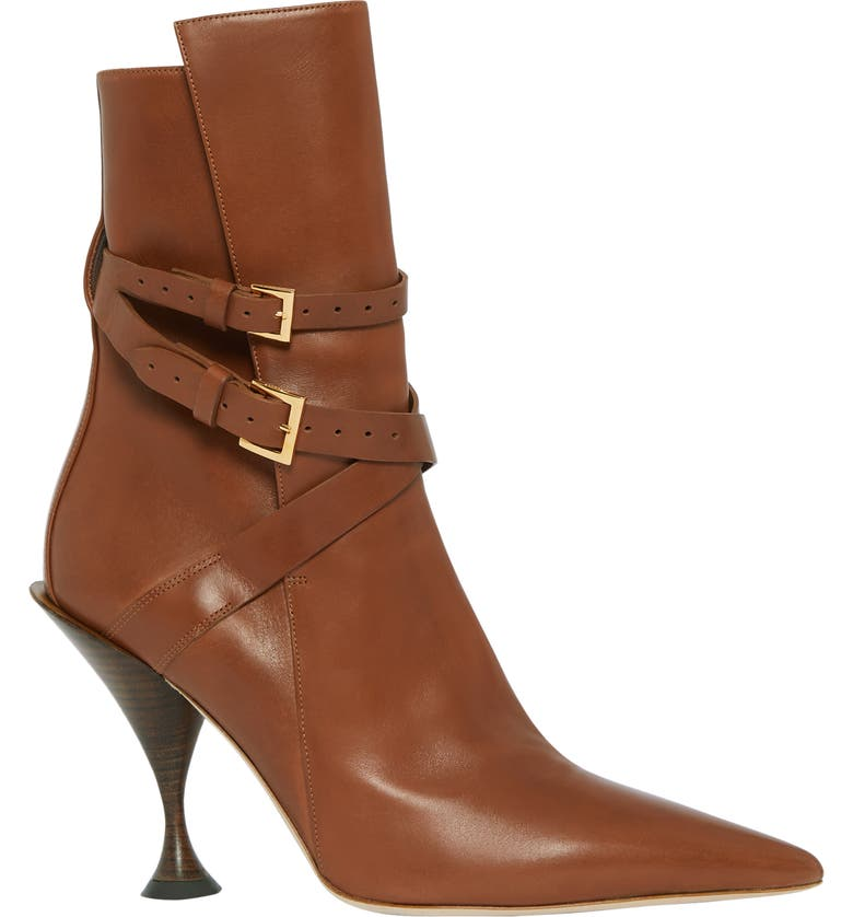 BURBERRY Hadfield Belted Pointy Toe Bootie, Main, color, TAN