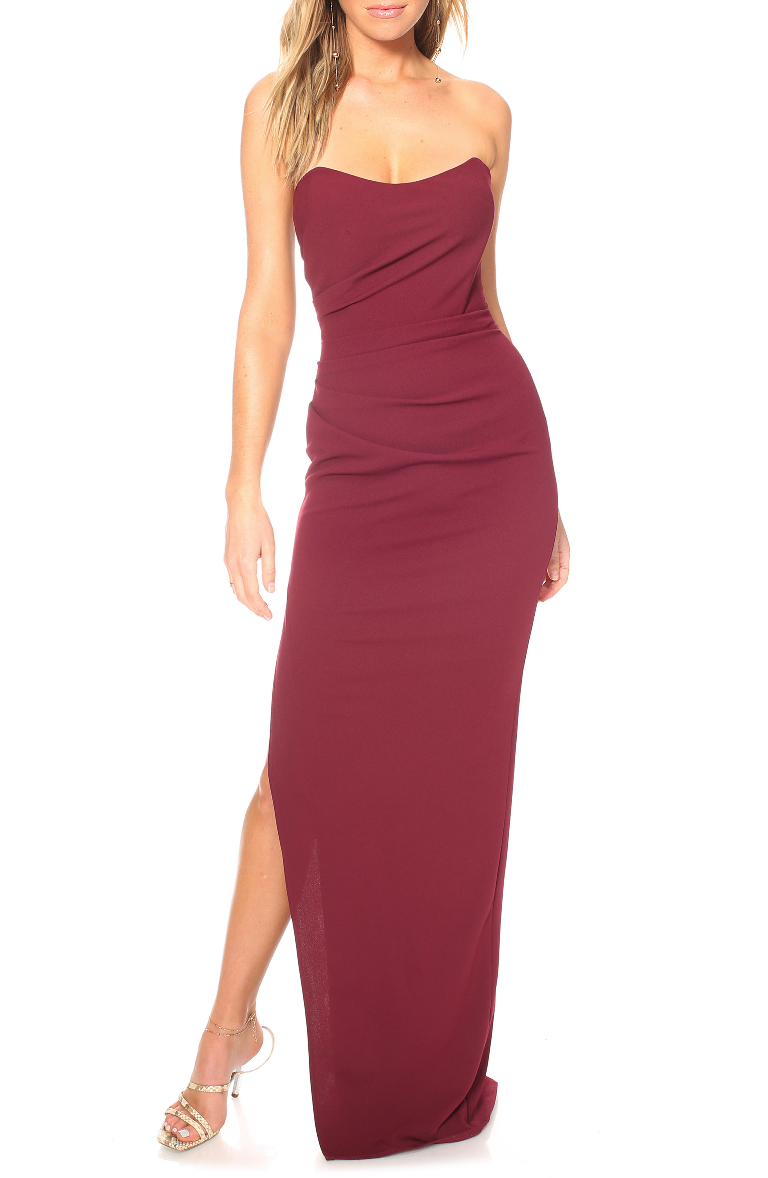Katie May Sway Strapless Column Dress, Burgundy