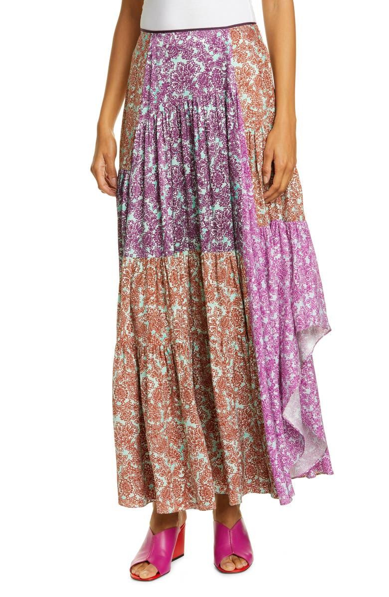 AMUR Scout Pleated Floral Silk Maxi Skirt, Main, color, MINT/ PURPLE MULTI