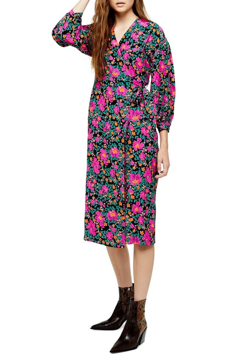 TOPSHOP Floral Print Wrap Dress, Main, color, PINK MULTI