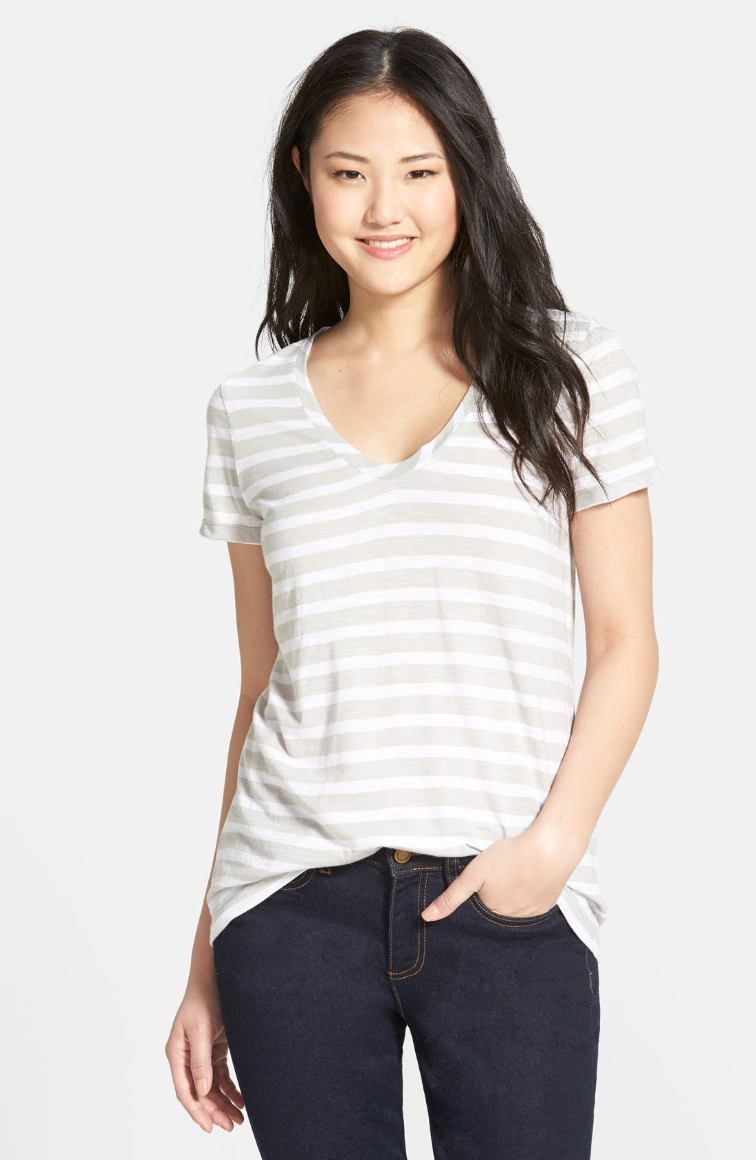 ,                             Relaxed Slub Knit U-Neck Tee,                             Main thumbnail 118, color,                             050