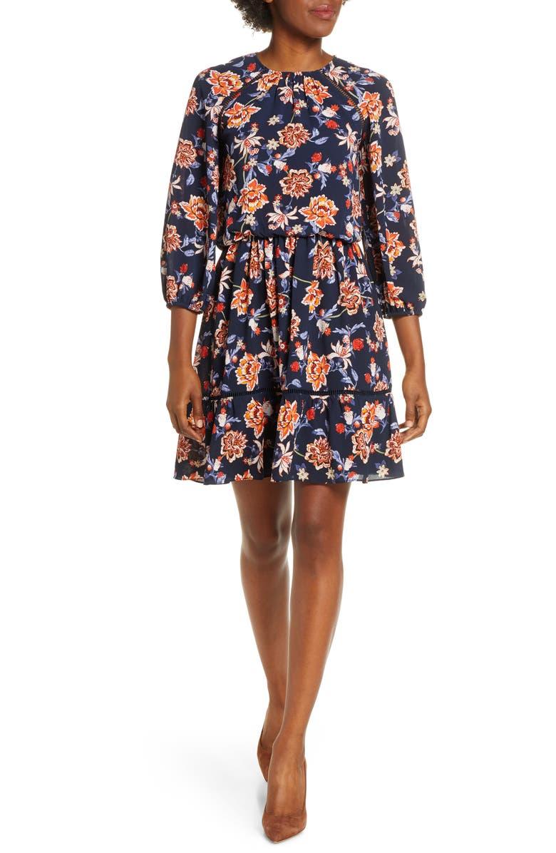 ELIZA J Floral Crepe Blouson Dress, Main, color, 406