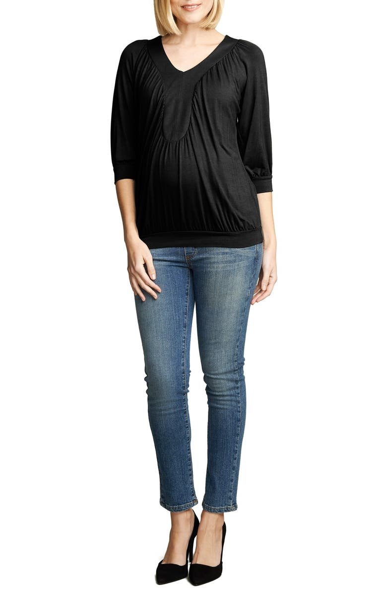 MATERNAL AMERICA Ruched Dolman Top, Main, color, BLACK