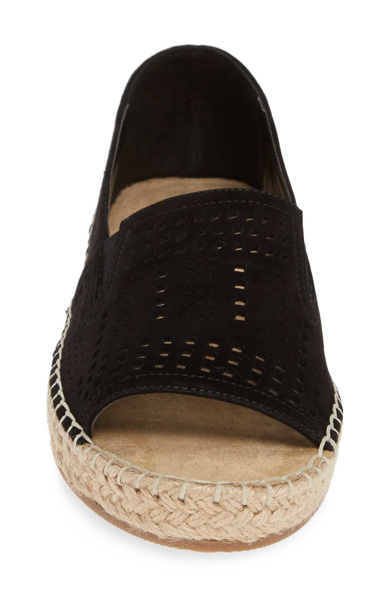 ,                             Cora Open Toe Slip-On,                             Alternate thumbnail 4, color,                             BLACK SUEDE
