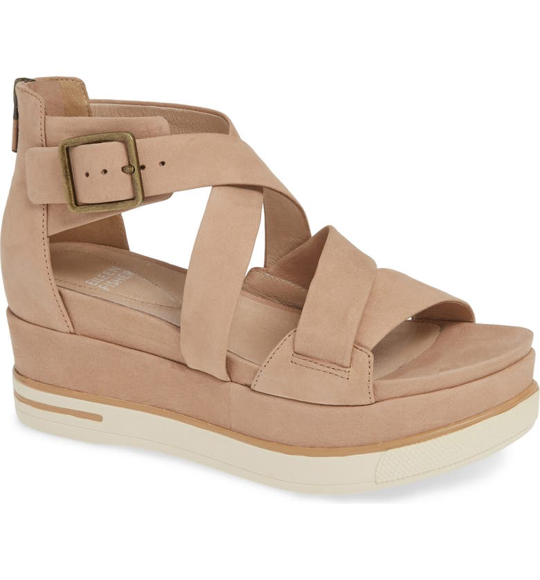 EILEEN FISHER Boost Wedge Sandal, Main, color, LATTE NUBUCK