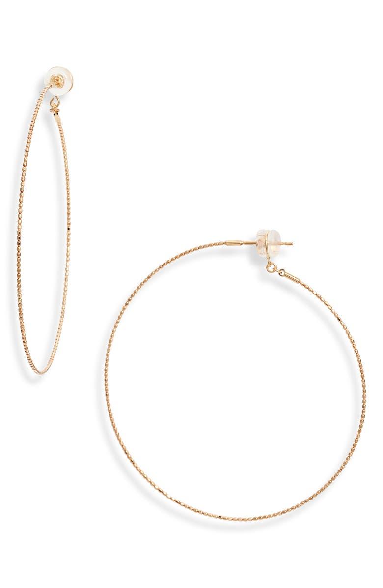 POPPY FINCH Skinny Beaded Hoop Earrings, Main, color, YELLOW GOLD