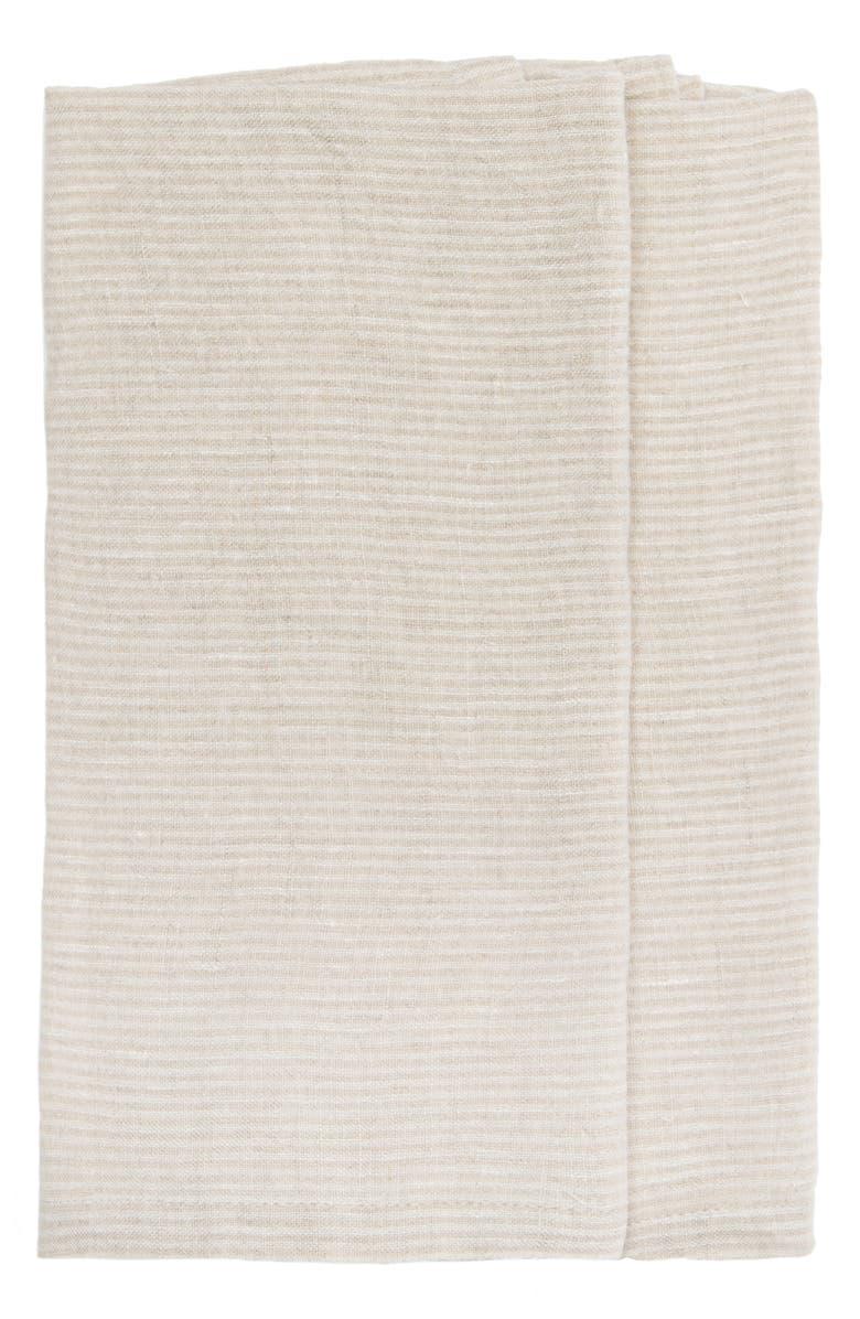 CARAVAN Set of 2 Pico Stripe Tea Towels, Main, color, IVORY/ NATURAL