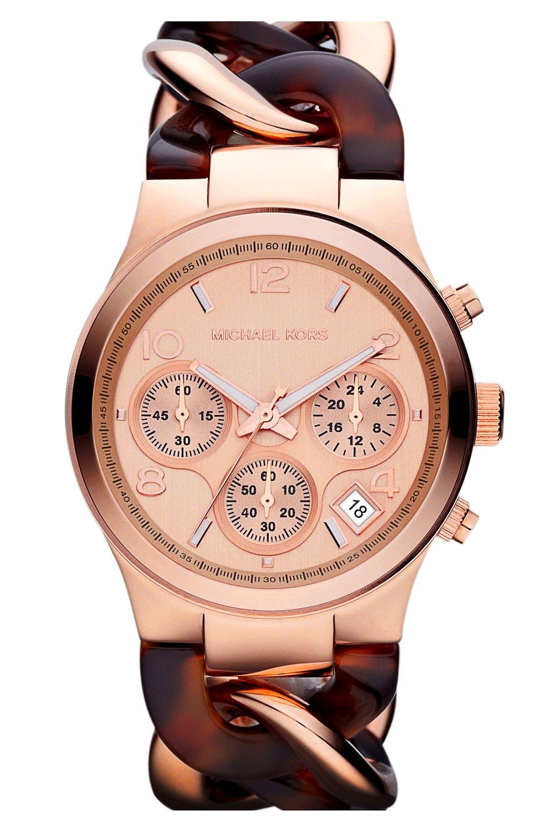 ,                             Michael Kors Chain Bracelet Chronograph Watch, 38mm,                             Main thumbnail 17, color,                             712
