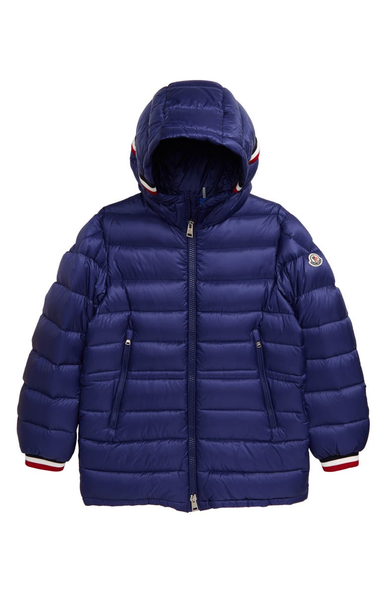 MONCLER Roussilion Water Resistant Hooded Down Jacket, Main, color, DARK BLUE