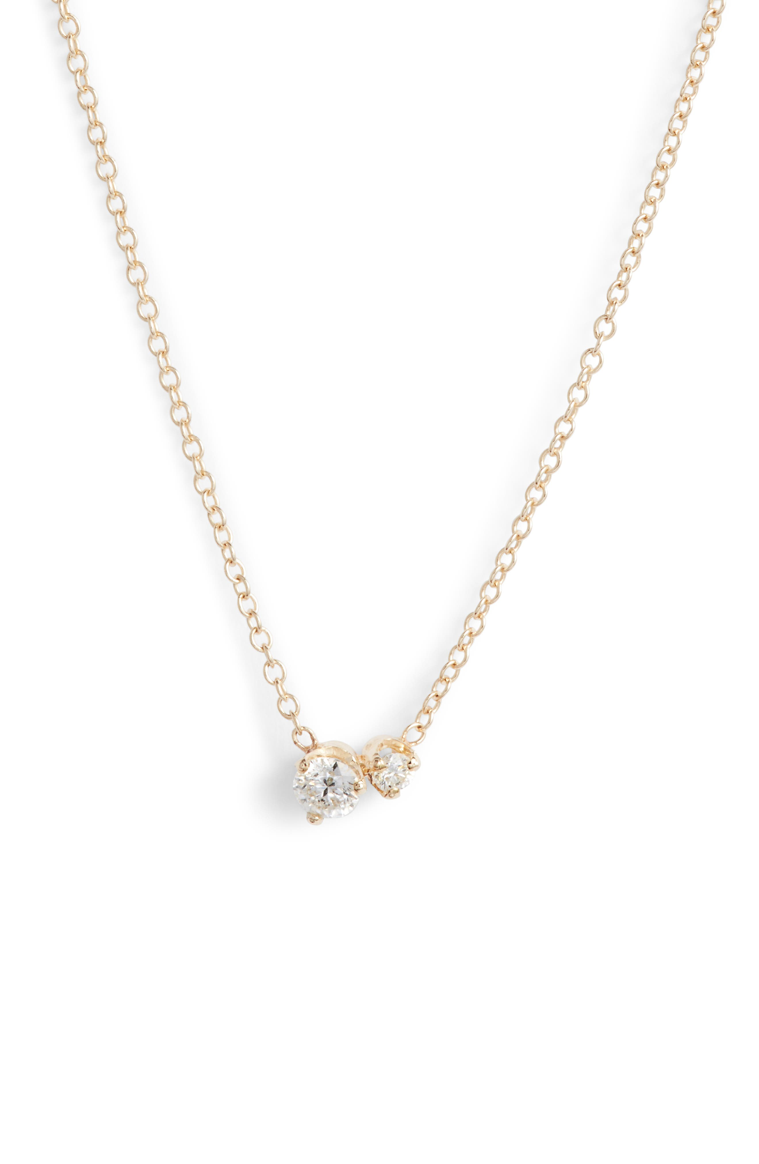 Zoe Chicco Mixed Diamond Pendant Necklace