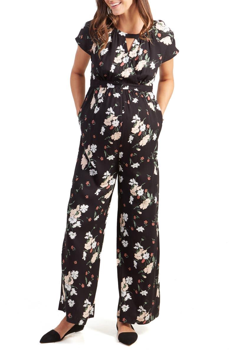 INGRID & ISABEL<SUP>®</SUP> Wide Leg Jumpsuit, Main, color, BLACK ARTIST FLORAL