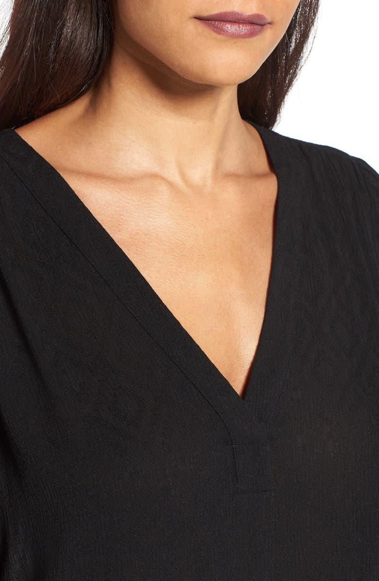 --- Textured V-Neck Blouse, Main, color, 001