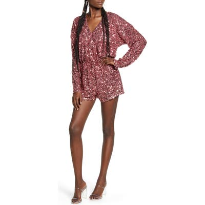 Endless Rose Sequin Long Sleeve Wrap Romper, Pink