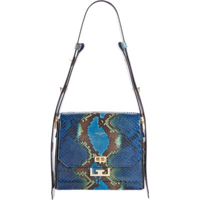 Givenchy Medium Eden Genuine Python Shoulder Bag - Blue
