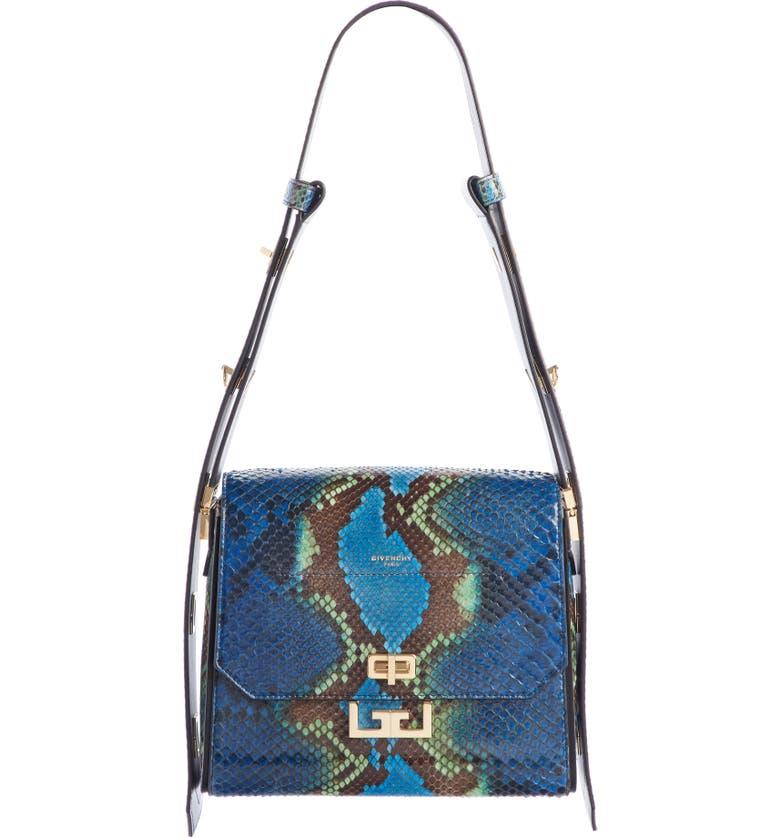 GIVENCHY Medium Eden Genuine Python Shoulder Bag, Main, color, BLUE/ GREEN