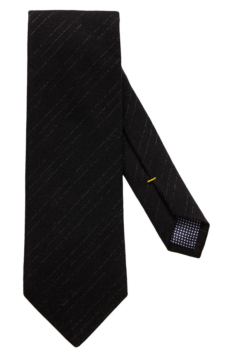 ETON Stripe Wool Blend Tie, Main, color, BLACK