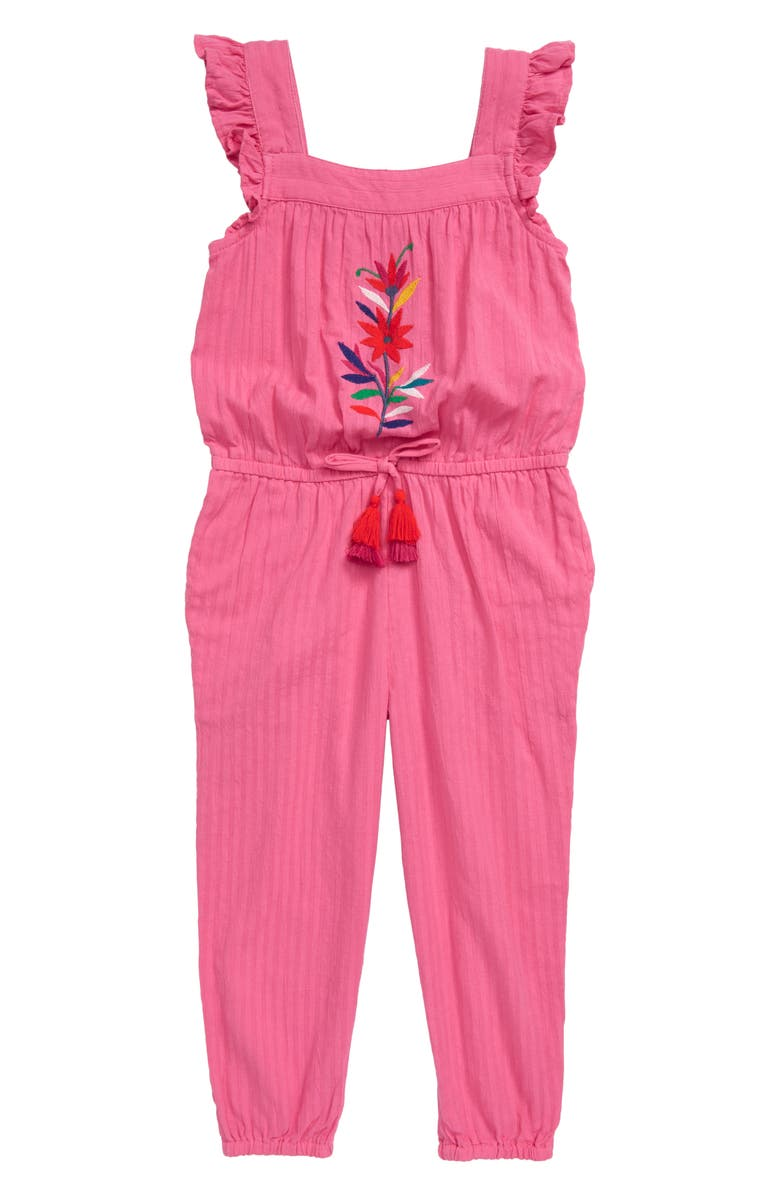 MINI BODEN Frill Sleeve Tie Waist Jumpsuit, Main, color, PNK FESTIVAL PINK