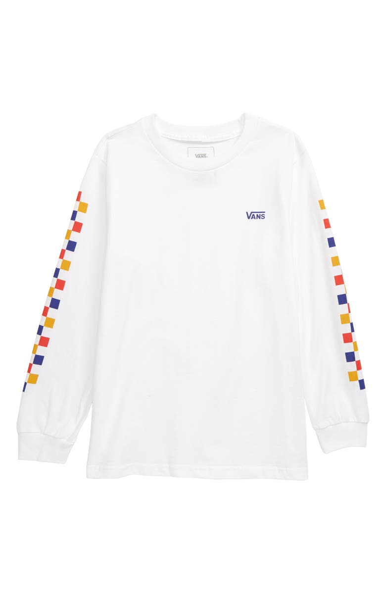 VANS Checkerboard Long Sleeve Graphic Tee, Main, color, WHITE