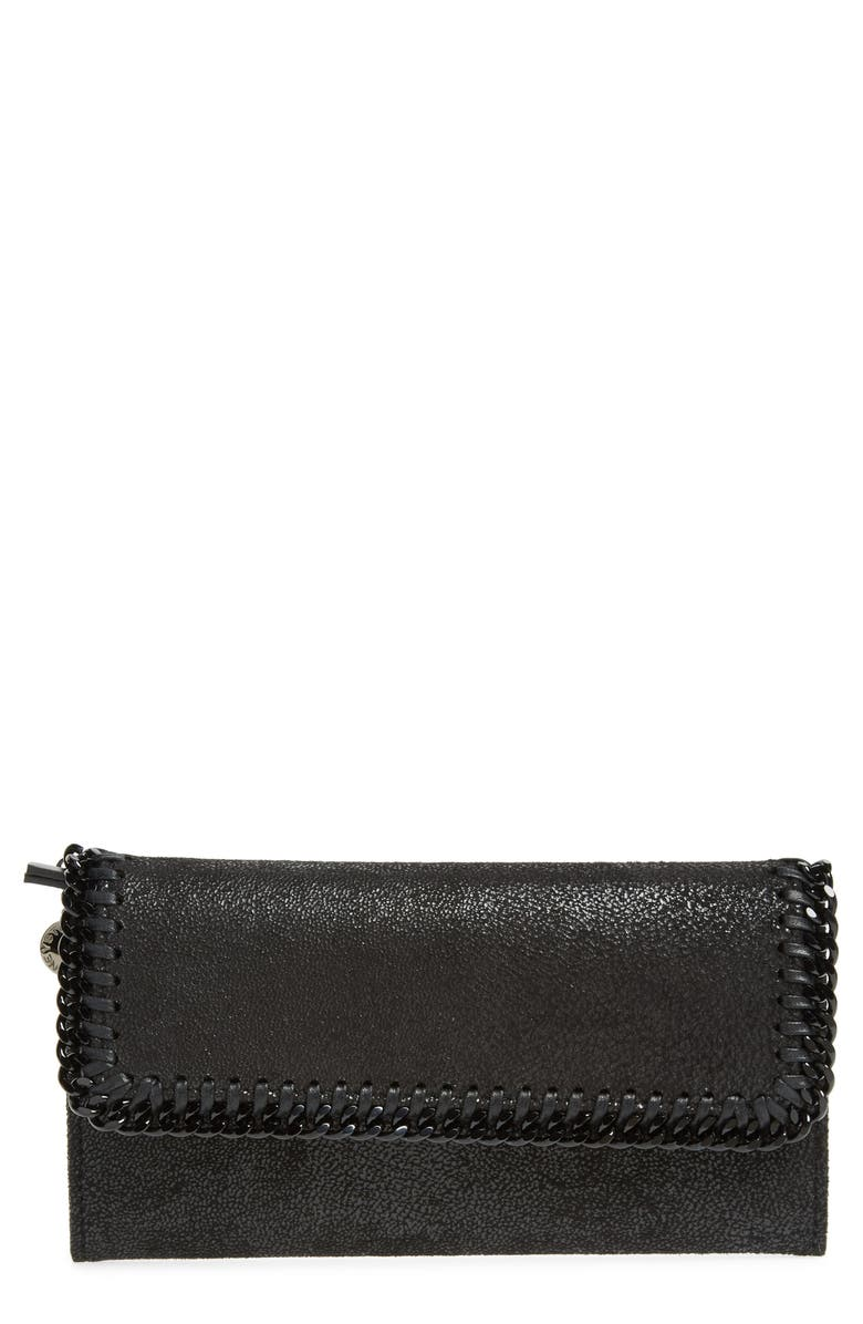 STELLA MCCARTNEY Shaggy Deer Faux Leather Wallet, Main, color, BLACK