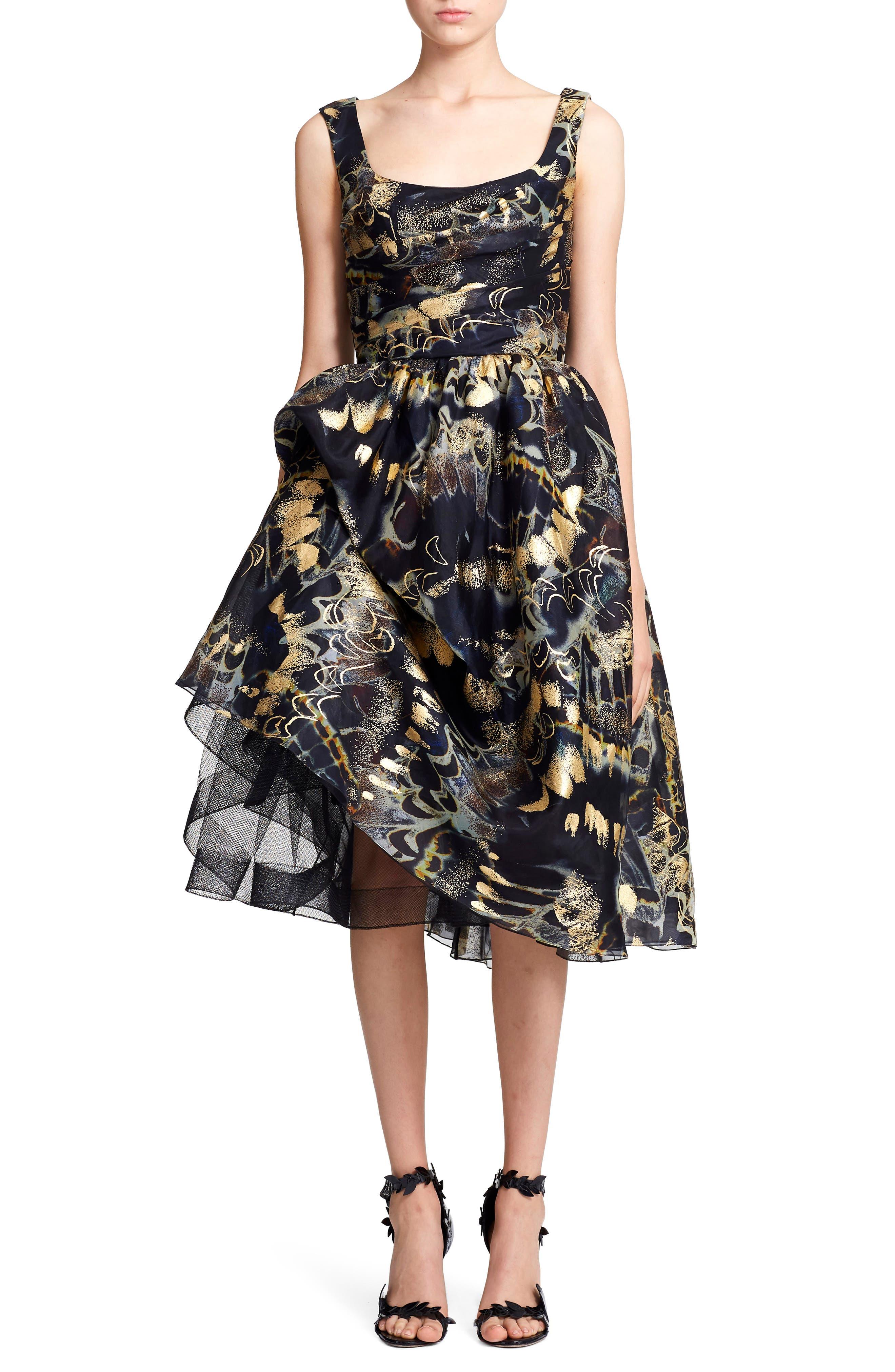 Marchesa Foil Print Bubble Skirt Silk Evening Dress, Metallic