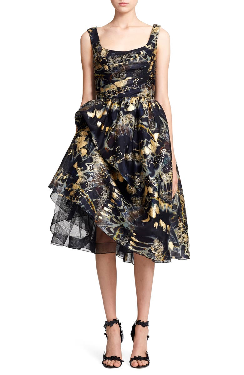 MARCHESA Foil Print Bubble Skirt Silk Evening Dress, Main, color, MIDNIGHT GOLD