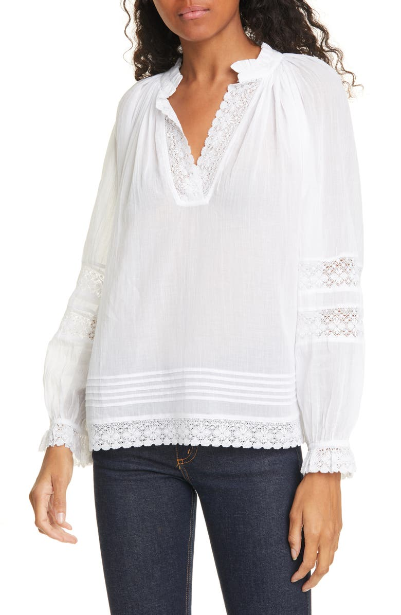BA&SH Stella Long Sleeve Cotton Peasant Blouse, Main, color, 100