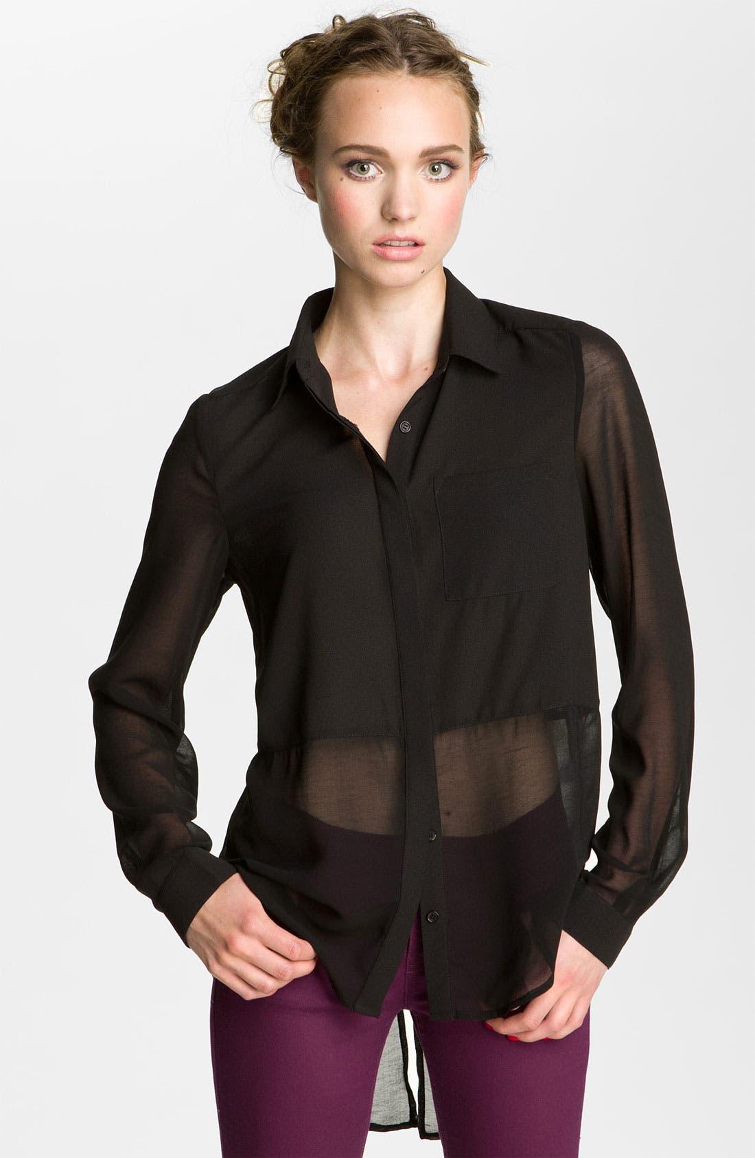,                             Lush Sheer Panel High/Low Shirt,                             Main thumbnail 1, color,                             001