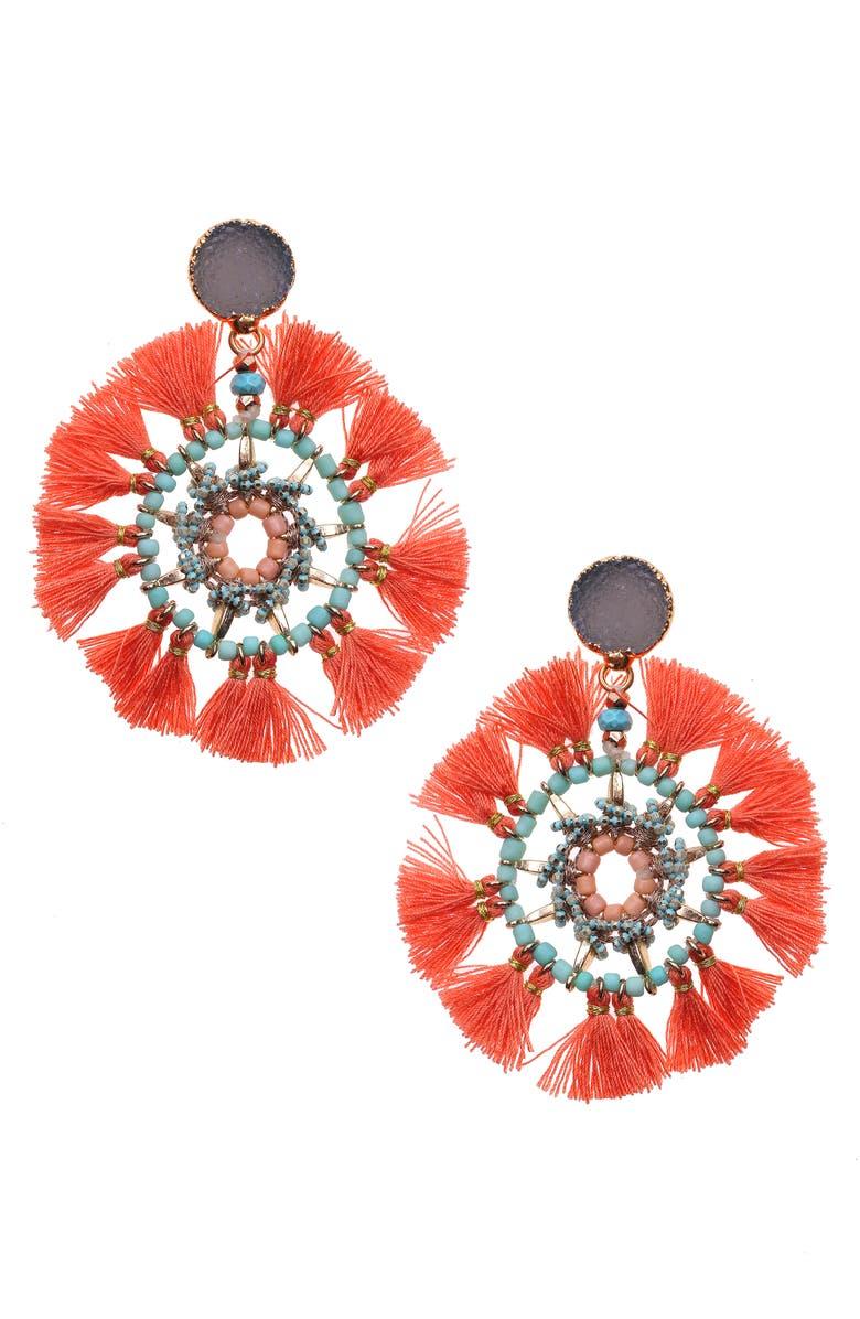 NAKAMOL DESIGN Fan Fringe Earrings, Main, color, RED/ PINK MULTI