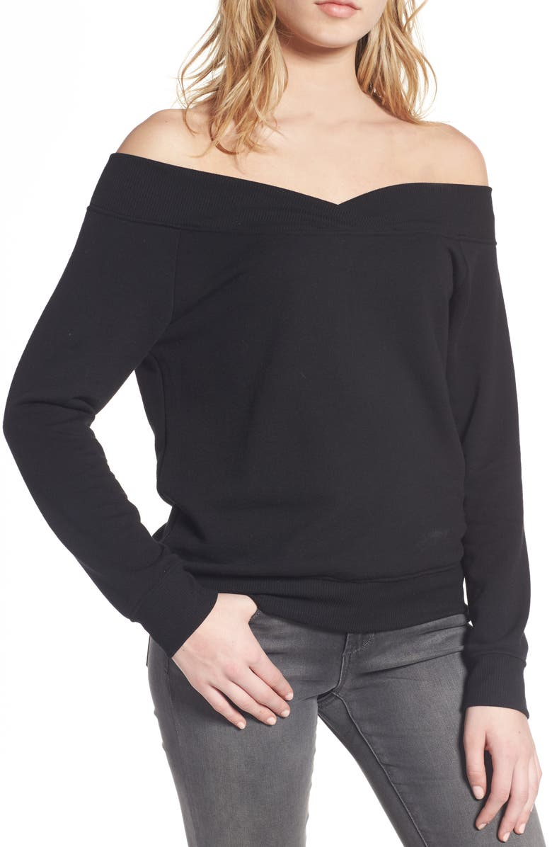 SOCIALITE Off the Shoulder Sweatshirt, Main, color, 001