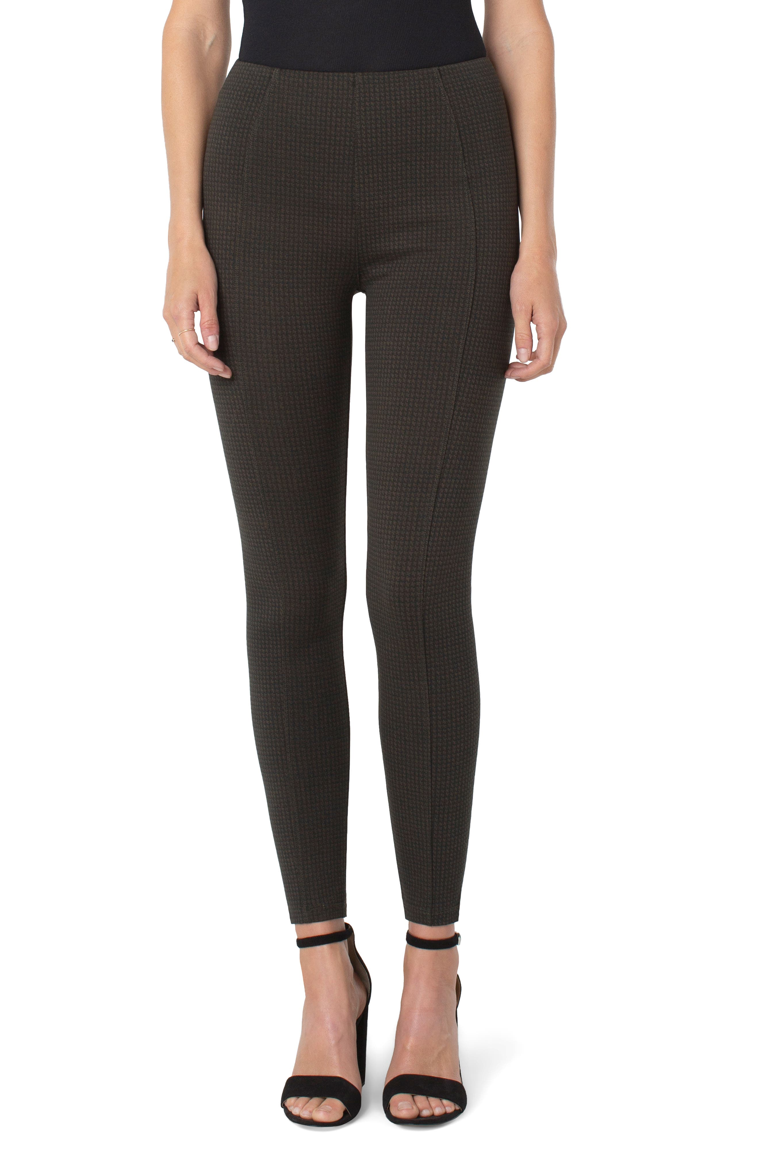 Reese Houndstooth Seamed High Waist Ankle Leggings