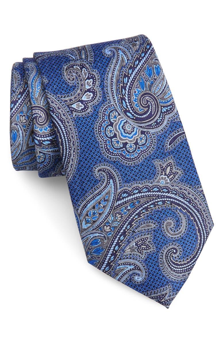 NORDSTROM MEN'S SHOP Paisley Silk Tie, Main, color, NAVY