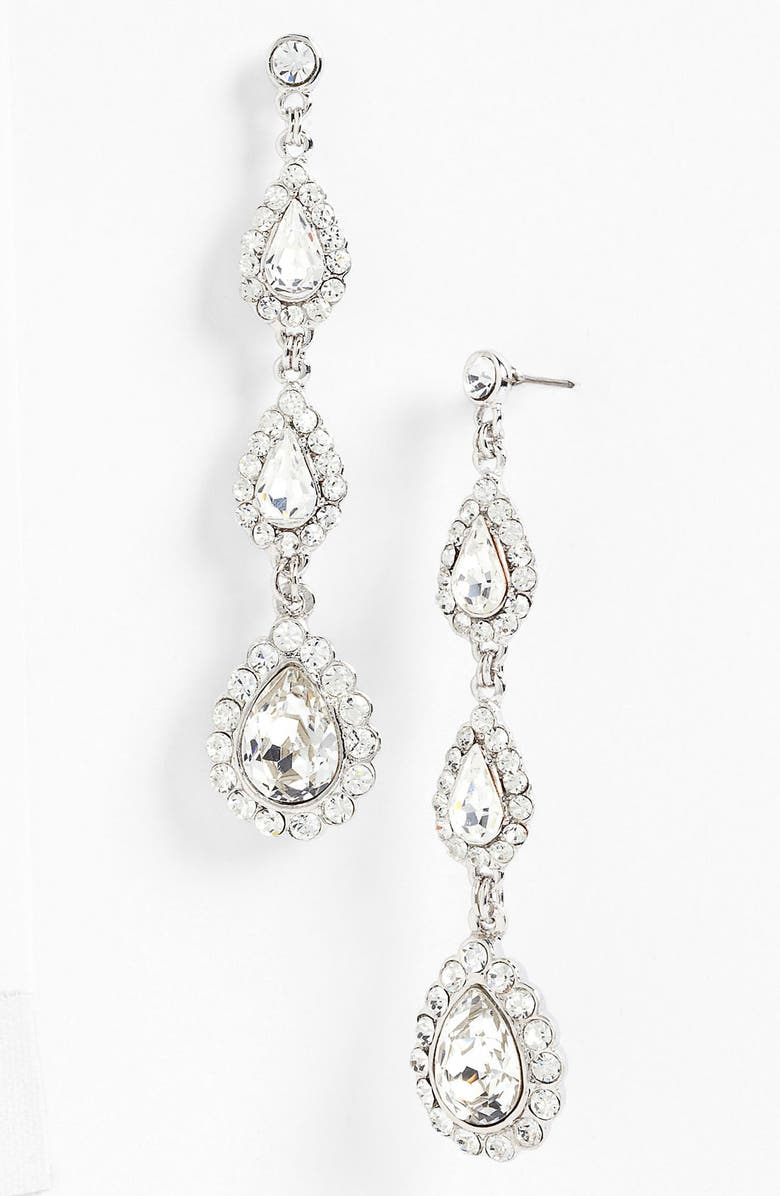 NINA 'Mallow' Triple Drop Crystal Linear Earrings, Main, color, 040