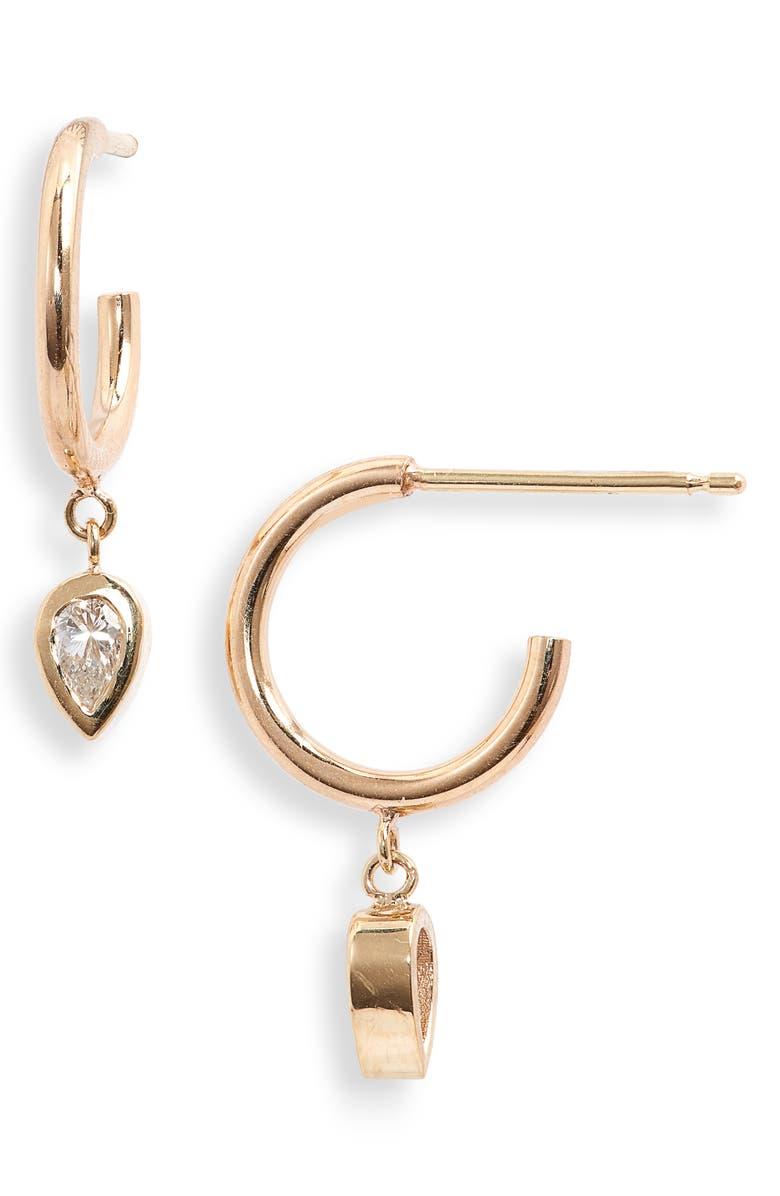 ZOË CHICCO Paris Dangling Pear Diamond Huggie Hoop Earrings, Main, color, YELLOW GOLD/ DIAMOND