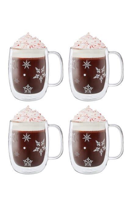 Image of JA Henckels International Holiday Coffee Glass Mug 4-Piece Set