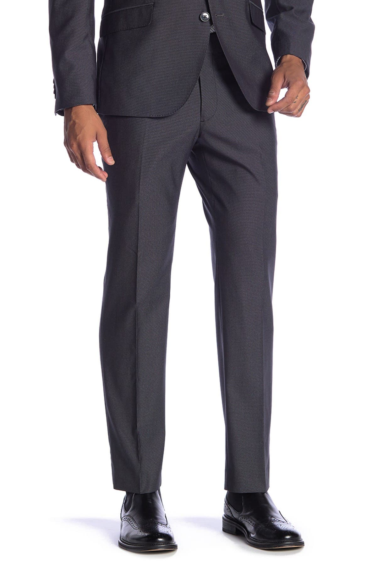 "Image of SAVILE ROW CO Essex Charcoal Slim Fit Suit Separate Pants - 30-34"" Inseam"