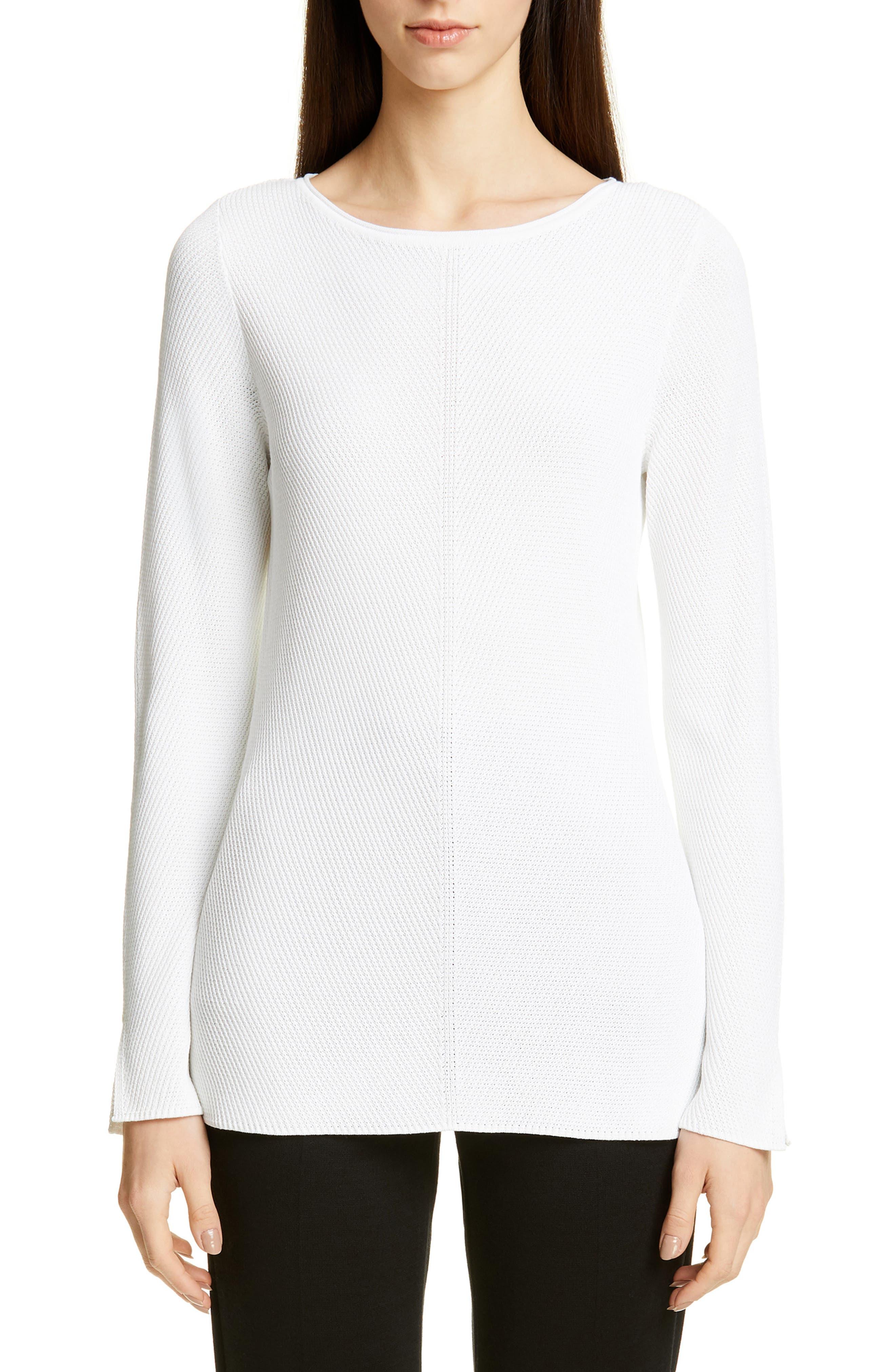 Chevron Rib Sweater, Main, color, WHITE