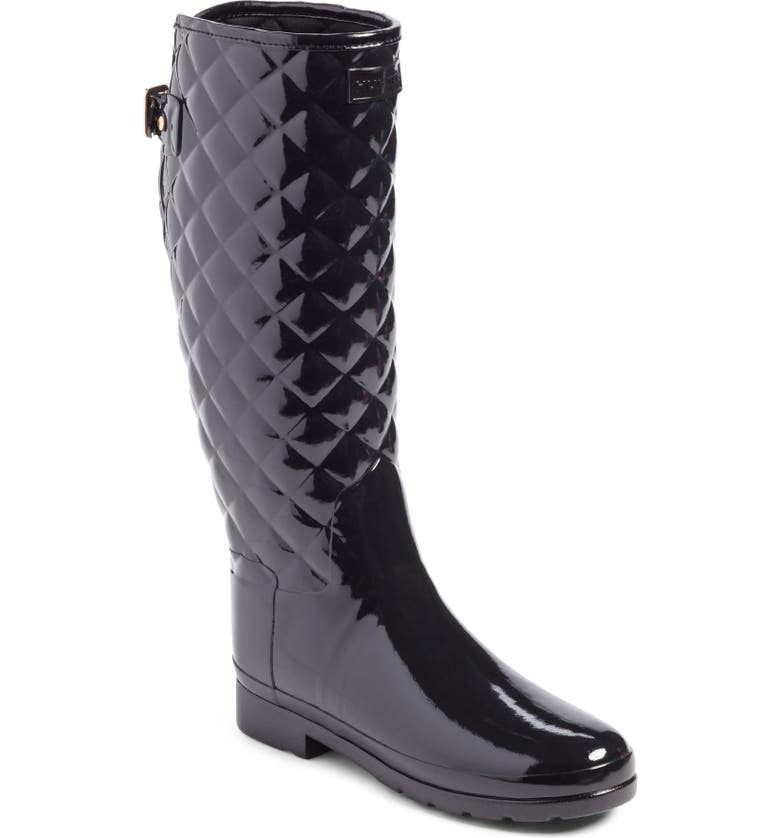 HUNTER Original Refined High Gloss Quilted Waterproof Rain Boot, Main, color, BLACK