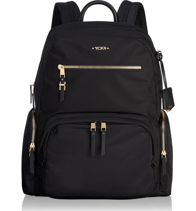 TUMI Voyager Carson Nylon Backpack, Main, color, BLACK/ GOLD