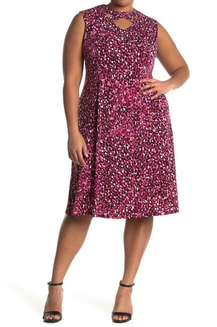 Image of London Times Festive Dot Jersey Fit Flare Dress